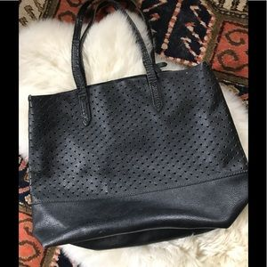 J Crew Downing Perforated Hearts Leather Tote Bag